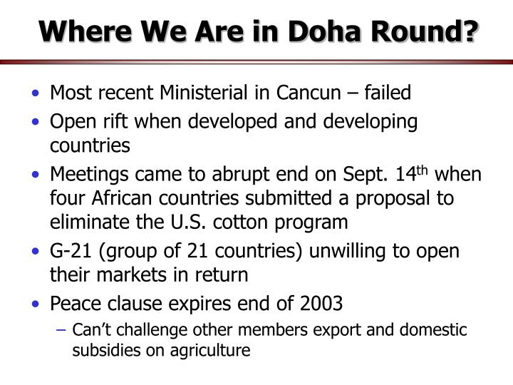 Where We Are in Doha Round?