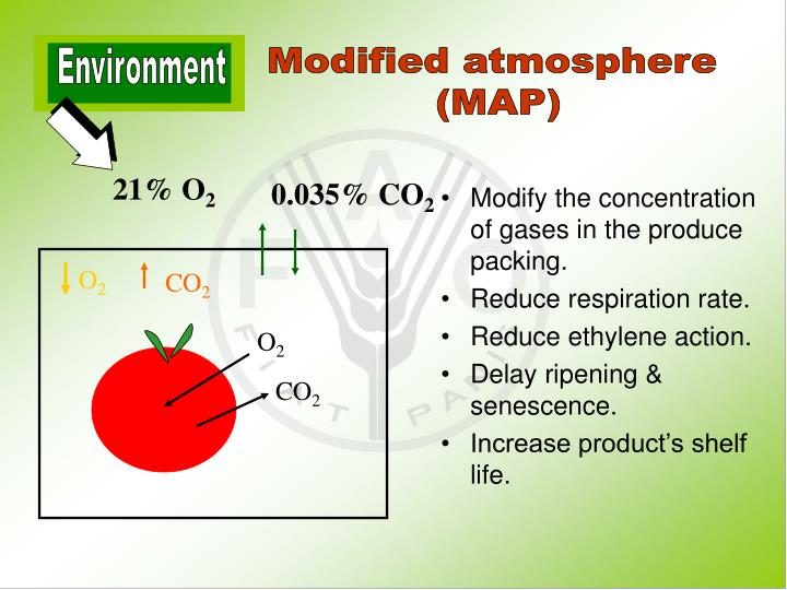 Modify the concentration of gases in the produce packing.