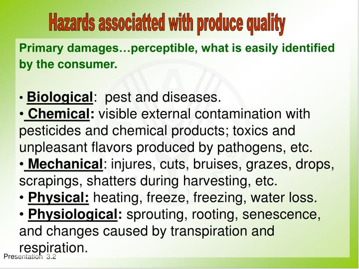 Hazards associatted with produce quality