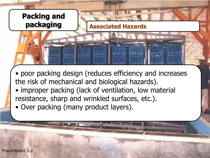 poor packing design (reduces efficiency and increases the risk of mechanical and biological hazards).