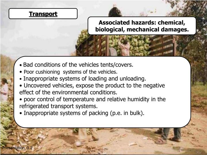 Associated hazards: chemical, biological, mechanical damages.