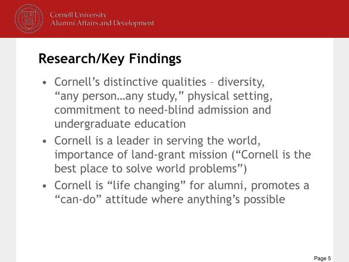 Cornell's distinctive qualities – diversity,
