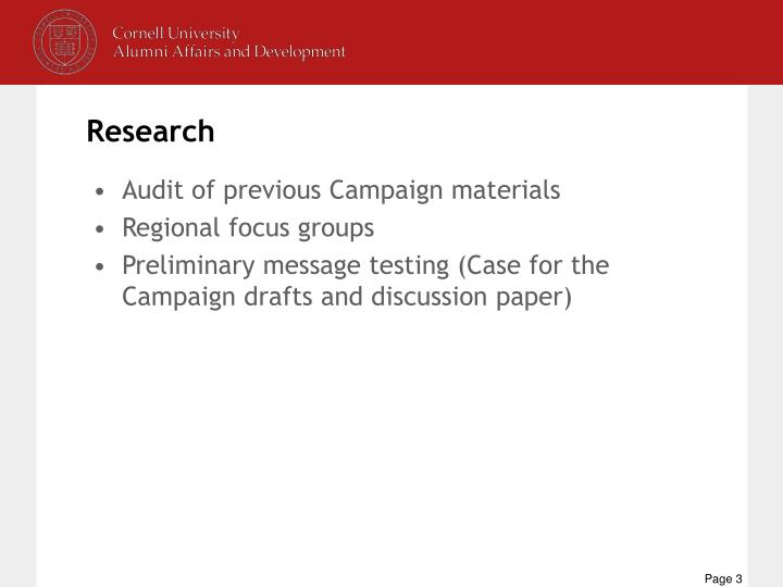 Audit of previous Campaign materials