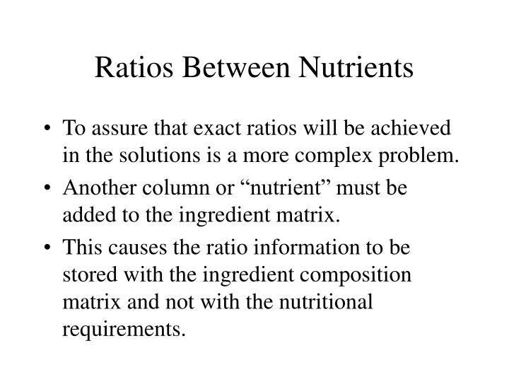 Ratios Between Nutrients
