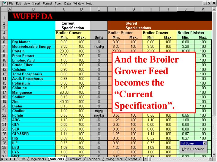 """And the Broiler Grower Feed becomes the """"Current Specification""""."""