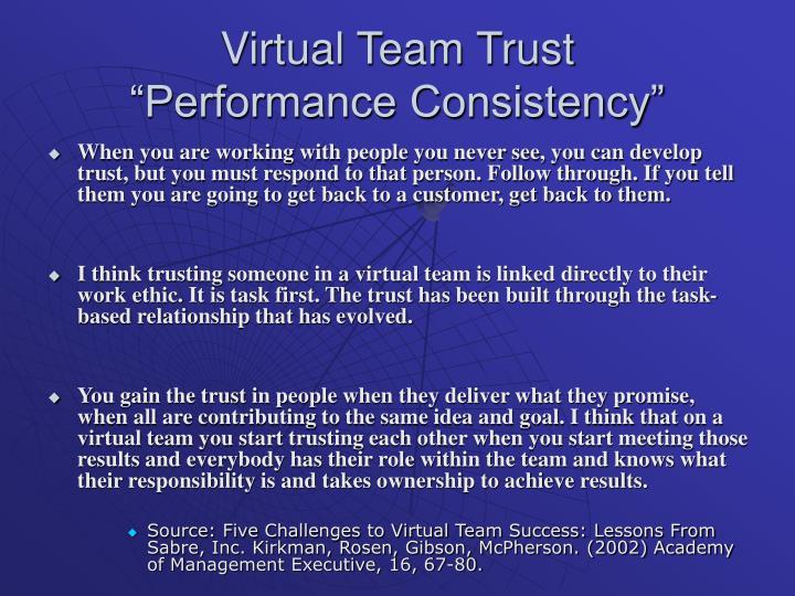 Virtual Team Trust