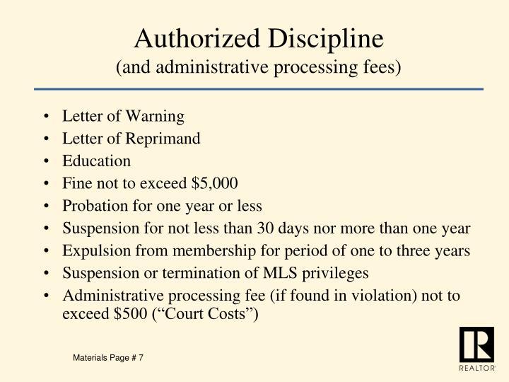 Authorized Discipline
