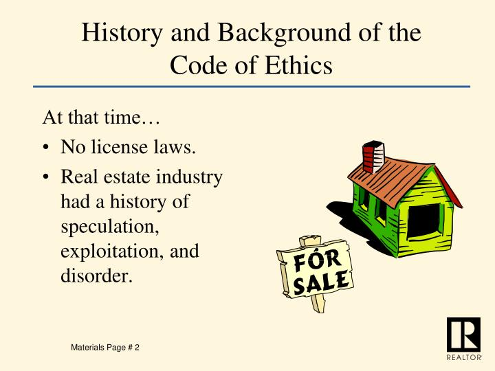 History and background of the code of ethics1