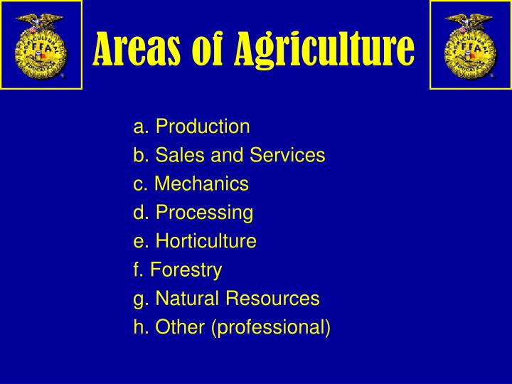 Areas of Agriculture