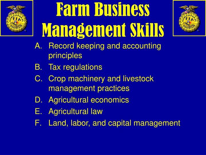Farm Business Management Skills
