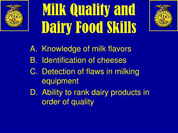 Milk Quality and Dairy Food Skills