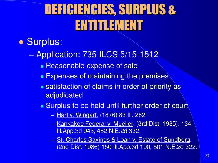 DEFICIENCIES, SURPLUS & ENTITLEMENT