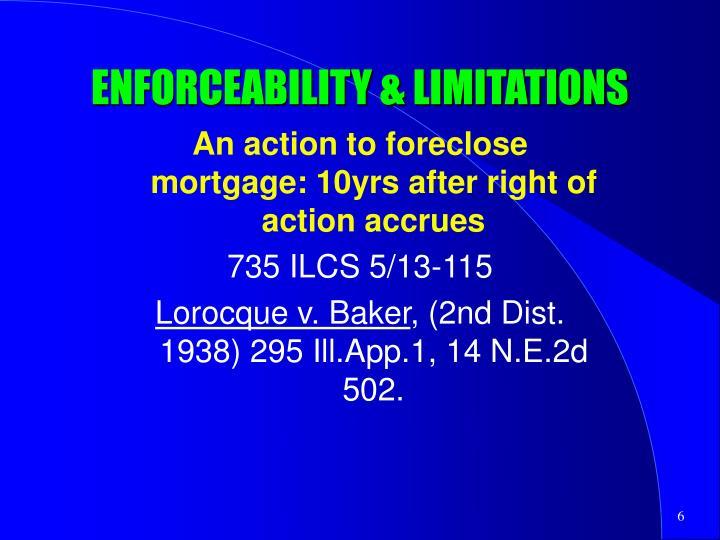 ENFORCEABILITY & LIMITATIONS
