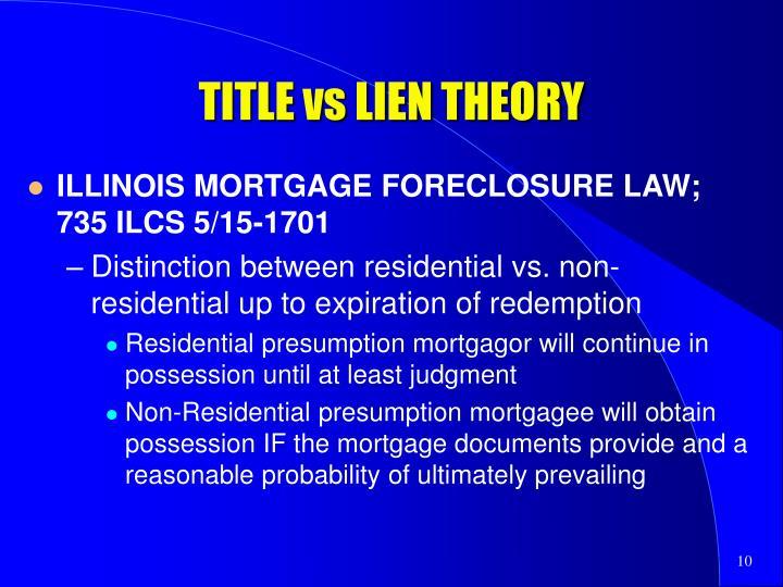 TITLE vs LIEN THEORY