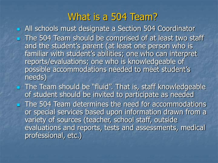 What is a 504 Team?