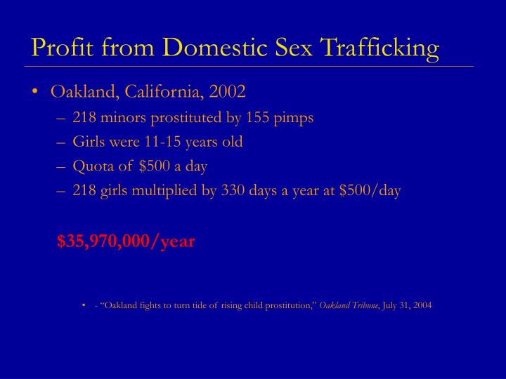Profit from Domestic Sex Trafficking