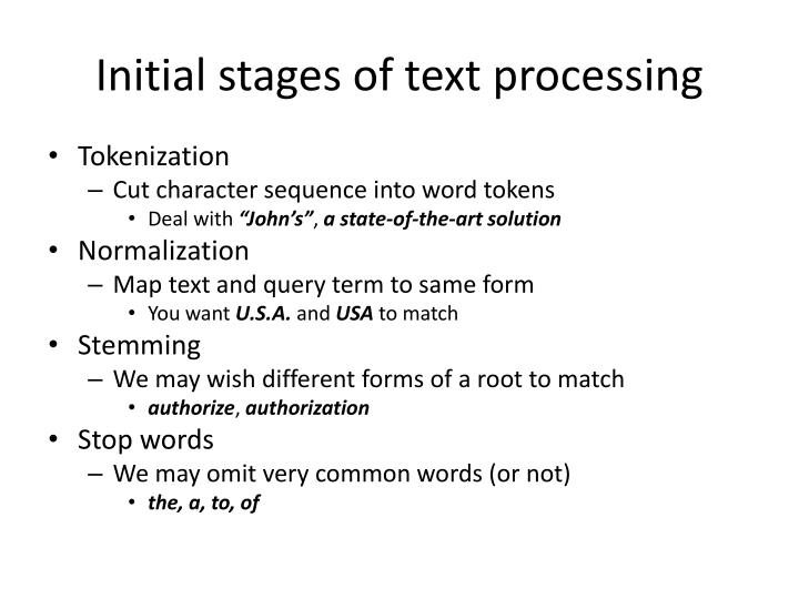 Initial stages of text processing