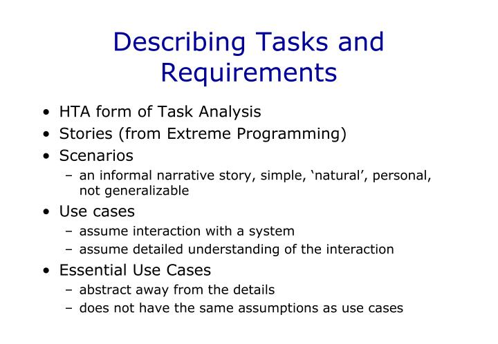 Describing Tasks and Requirements