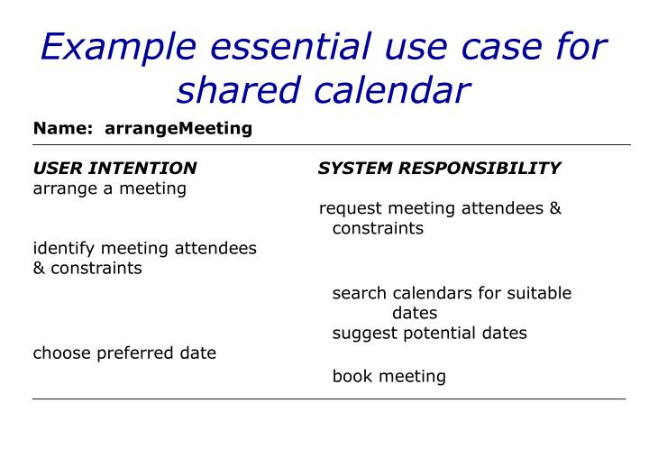 Example essential use case for shared calendar