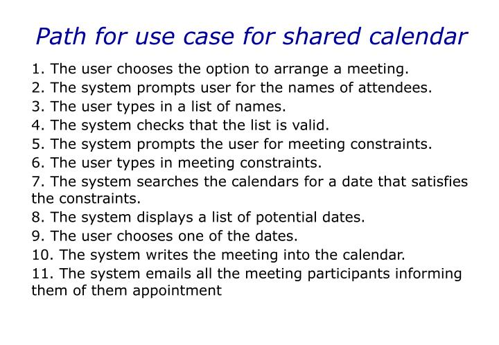 Path for use case for shared calendar