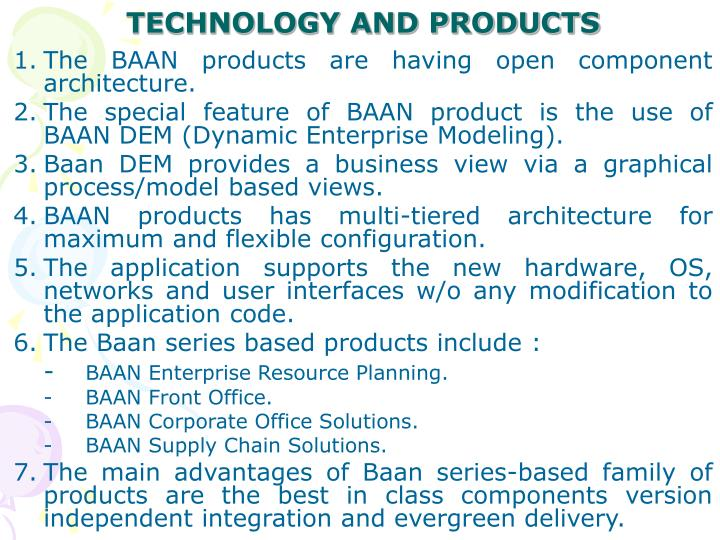 TECHNOLOGY AND PRODUCTS