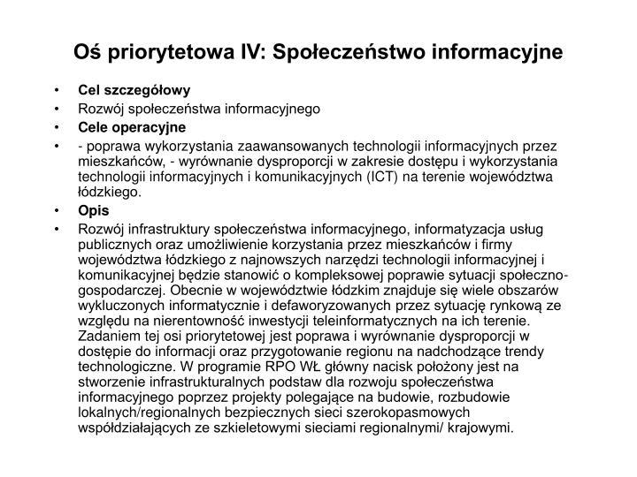 Oś priorytetowa IV: Społeczeństwo informacyjne