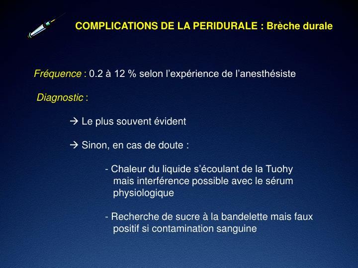 COMPLICATIONS DE LA PERIDURALE : Brèche durale