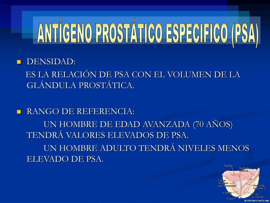 valores de antígeno prostático específico p s a