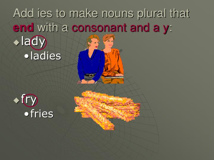 Add ies to make nouns plural that