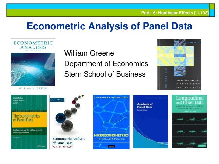 econometric analysis of panel data n.