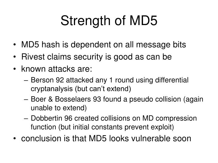 Strength of MD5