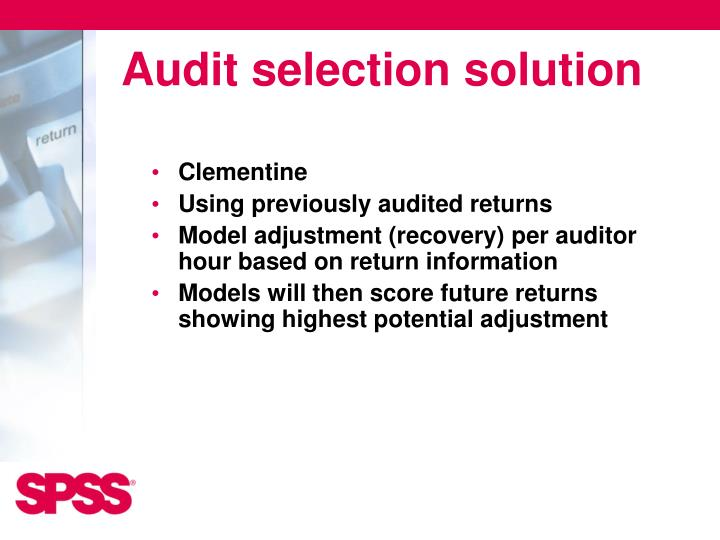 Audit selection solution