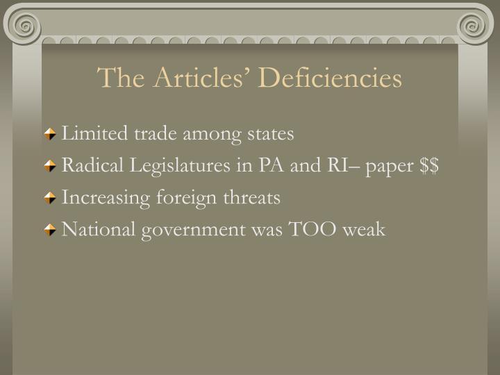 The Articles' Deficiencies
