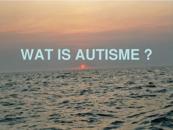 WAT IS AUTISME ?