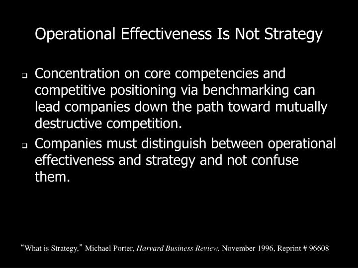operational effectiveness is not strategy Operational effectiveness vs strategy too often in today's companies, managers mistake operational effectiveness with strategy both are important.