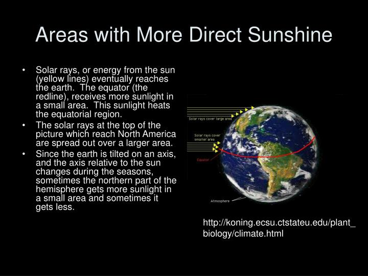 Areas with More Direct Sunshine