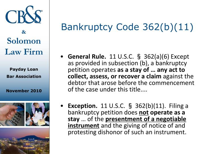 Bankruptcy Code 362(b)(11)