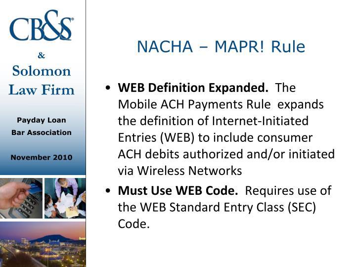 NACHA – MAPR! Rule
