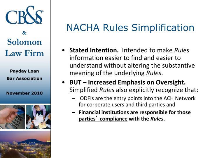 NACHA Rules Simplification