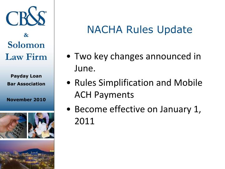 NACHA Rules Update