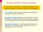 national resources finance and quality
