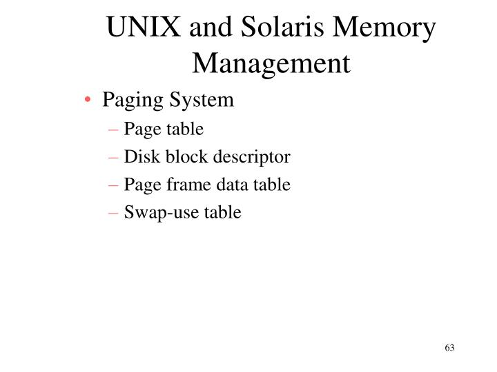 UNIX and Solaris Memory Management