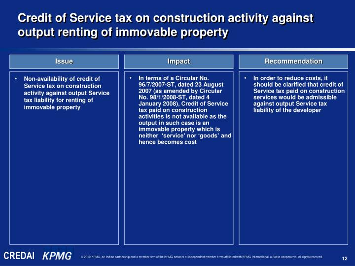 Non-availability of credit of Service tax on construction activity against output Service tax liability for renting of immovable property