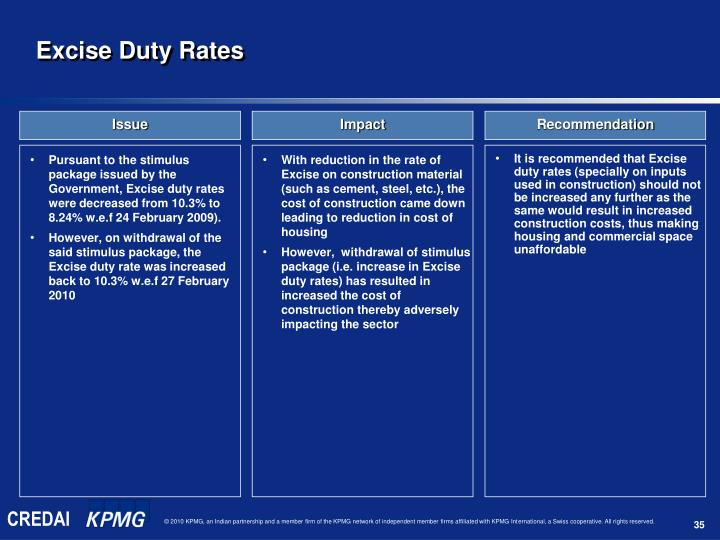 Pursuant to the stimulus package issued by the Government, Excise duty rates were decreased from 10.3% to 8.24% w.e.f 24 February 2009).