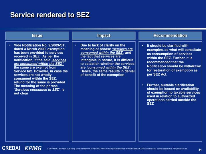Vide Notification No. 9/2009-ST, dated 3 March 2009, exemption has been provided to services received in SEZ.  As per the notification, if the said