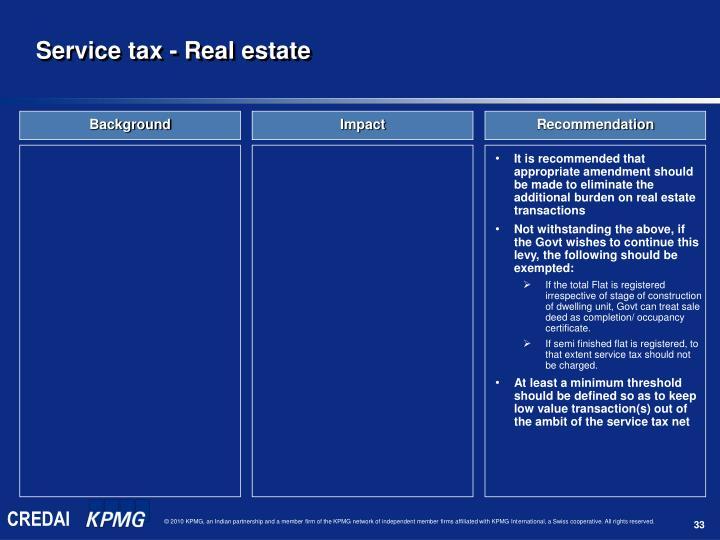 Service tax - Real estate