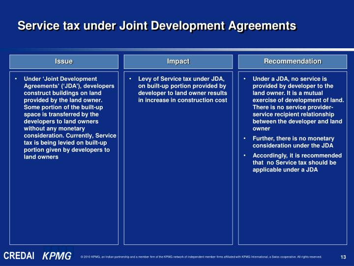 Service tax under Joint Development Agreements