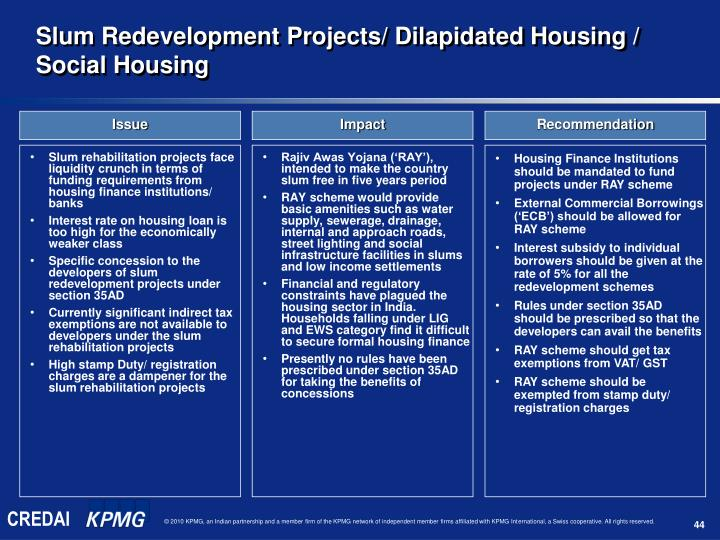 Slum rehabilitation projects face liquidity crunch in terms of funding requirements from housing finance institutions/ banks
