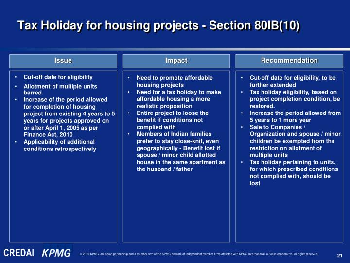 Tax Holiday for housing projects - Section 80IB(10)