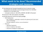 what needs to be done recommended strategies and measures